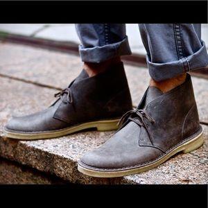 Clarks Navy Leather Bushacre 2 Desert Boot US 11